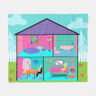Retro Living Dollhouse Fleece Blanket