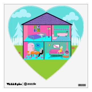 Retro Living Dollhouse Heart Shaped Wall Decal