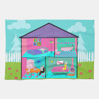 Retro Living Dollhouse Kitchen Towels