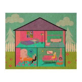 Retro Living Dollhouse Photo Cork Paper