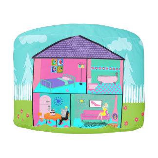 Retro Living Dollhouse Round Pouf Round Pouffe