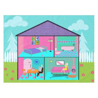 Retro Living Dollhouse Tablecloth