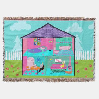 Retro Living Dollhouse Throw Blanket