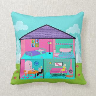 Retro Living Dollhouse Throw Pillow Throw Cushion