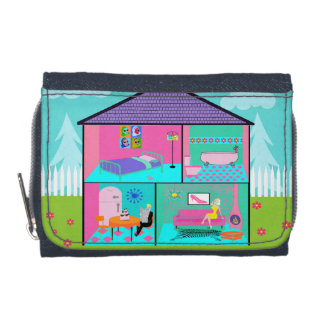 Retro Living Dollhouse Wallet with Coin Purse
