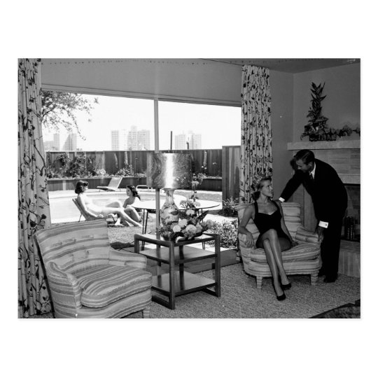 Retro Living Room, Los Angeles, 1951 Vintage Postcard
