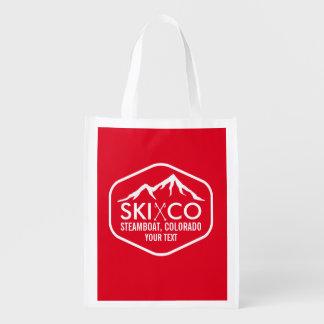 Retro Logo Ski Mountain Steamboat Colorado Custom Reusable Grocery Bag