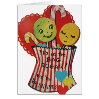 Retro Lollipops and Candy Valentine Greeting Card