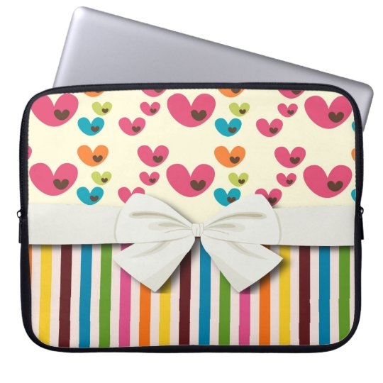 retro lolly valentine love hearts and stripes laptop sleeve