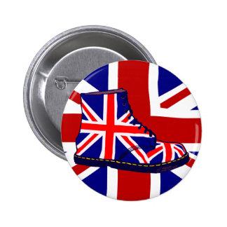 Retro look british boot pop art UJ 6 Cm Round Badge