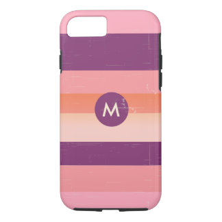 Retro look monogram candy stripes iPhone 7 case