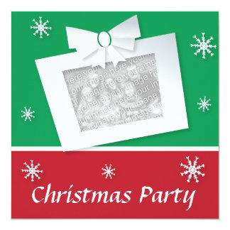 Retro look Xmas party invitite customizable photo 13 Cm X 13 Cm Square Invitation Card