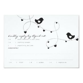 Retro Love Birds with Hearts Response Card 9 Cm X 13 Cm Invitation Card