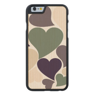 Retro Love hearts Carved® Maple iPhone 6 Case