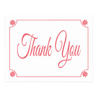 Retro Love Peace Pink Floral Thank You Post Card