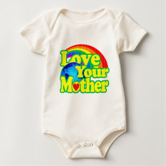 Retro Love Your Mother Earth Baby Bodysuit