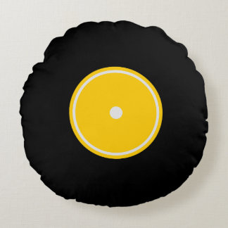 Retro LP Vinyl Record | Yellow Round Cushion