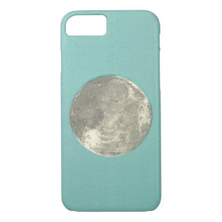 Retro Lunar Moon on Teal Background   Phone Case
