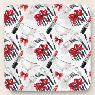 Retro Make Up Girly Trendy Colorful Coasters
