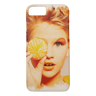 Retro Makeup Beauty Girl - Funny Orange on Hand iPhone 7 Case