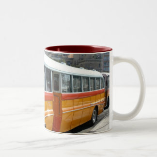 Retro Malta bus Two-Tone Coffee Mug