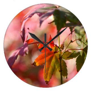 Retro Maple Foliage Large Clock