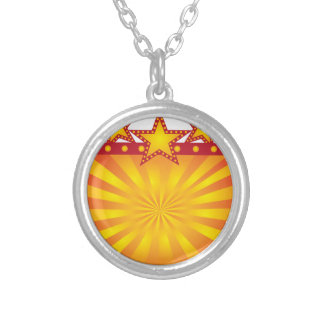 Retro Marquee Sign with Sun Rays Illustration Silver Plated Necklace