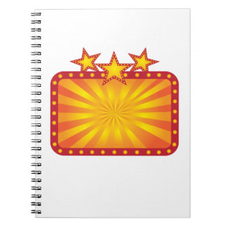 Retro Marquee Sign with Sun Rays Illustration Spiral Notebook