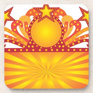 Retro Marquee Sign with Sunrays Stars Illustration Coaster