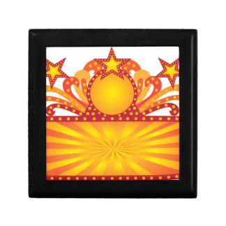 Retro Marquee Sign with Sunrays Stars Illustration Gift Box