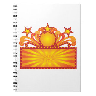 Retro Marquee Sign with Sunrays Stars Illustration Notebook