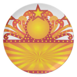 Retro Marquee Sign with Sunrays Stars Illustration Plate