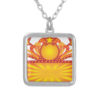 Retro Marquee Sign with Sunrays Stars Illustration Silver Plated Necklace