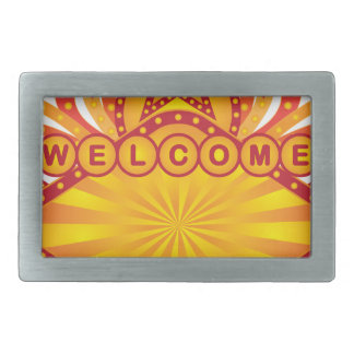 Retro Marquee Welcome Sign Illustration Belt Buckle