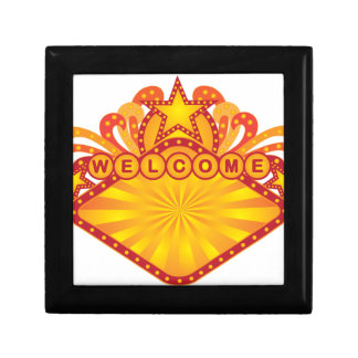 Retro Marquee Welcome Sign Illustration Gift Box