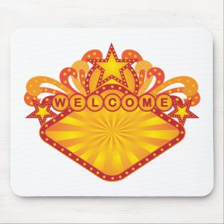 Retro Marquee Welcome Sign Illustration Mouse Pad