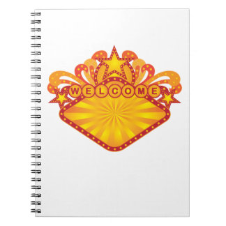 Retro Marquee Welcome Sign Illustration Notebook