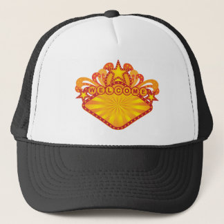 Retro Marquee Welcome Sign Illustration Trucker Hat