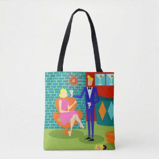 Retro Martini Couple All-Over Print Tote Bag