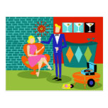 Retro Martini Couple Postcard