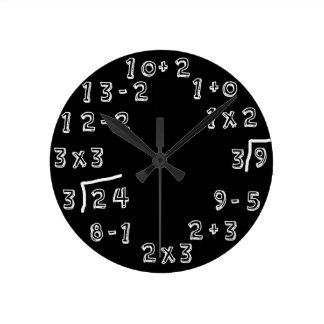 Retro Math Problems Round Clock