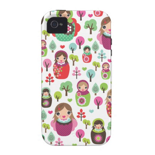 Retro matryoshka russian dolls kids pattern Case-Mate iPhone 4 case