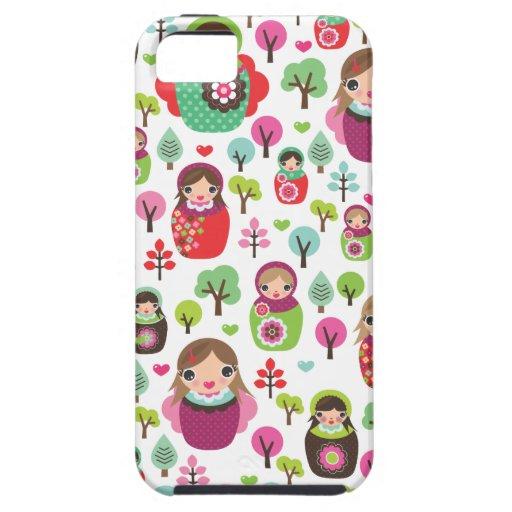 Retro matryoshka russian dolls kids pattern iPhone 5 cover