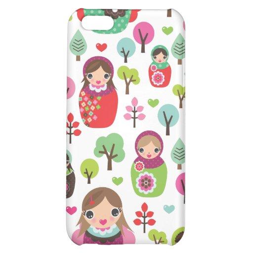 Retro matryoshka russian dolls kids pattern cover for iPhone 5C