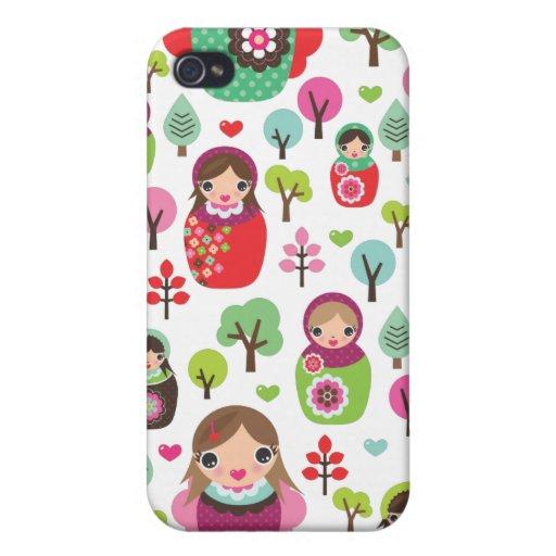 Retro matryoshka russian dolls kids pattern iPhone 4 case