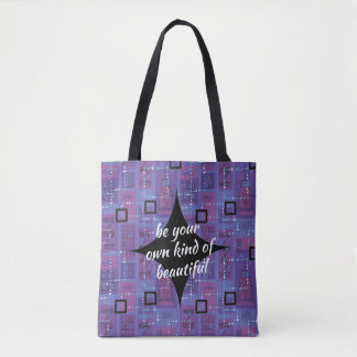 Retro Mauve Blue Black Abstract Motivational Tote Bag