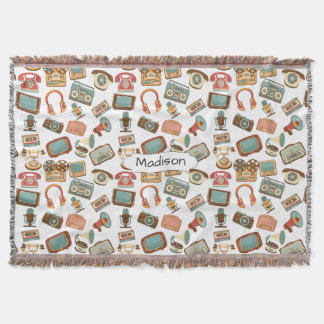 Retro Media Pattern custom name throw blanket