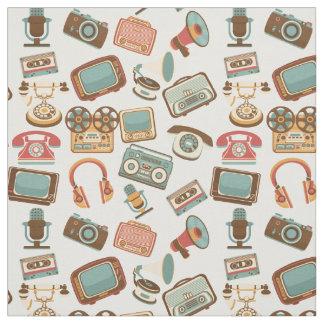Retro Media Pattern fabric