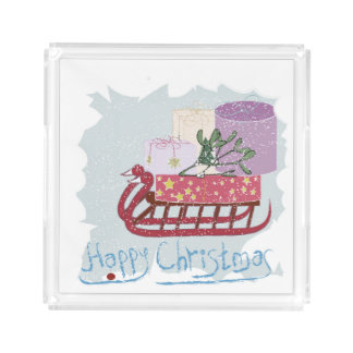 Retro . Merry Christmas! Acrylic Tray