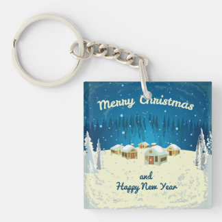 Retro Merry Christmas Greeting Double-Sided Square Acrylic Key Ring